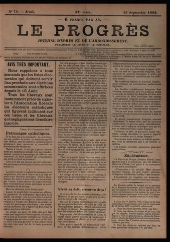 Le Progrès (1841-1914) 1892-09-15