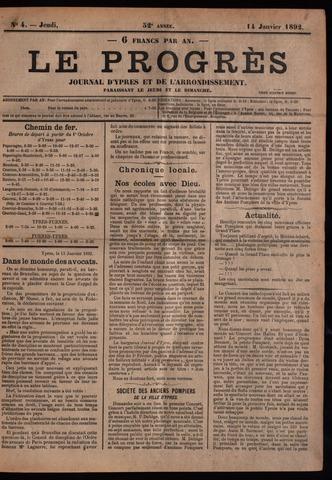Le Progrès (1841-1914) 1892-01-14