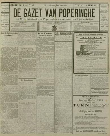De Gazet van Poperinghe  (1921-1940) 1922-06-18