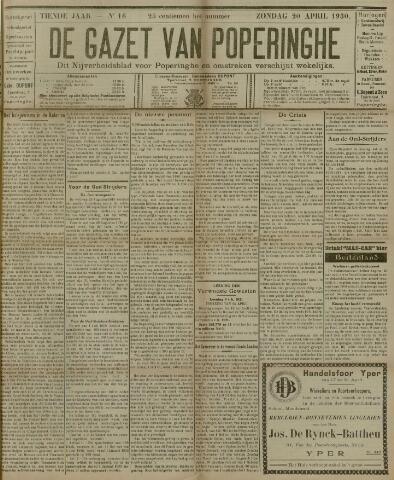 De Gazet van Poperinghe  (1921-1940) 1930-04-20