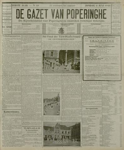 De Gazet van Poperinghe  (1921-1940) 1922-07-02
