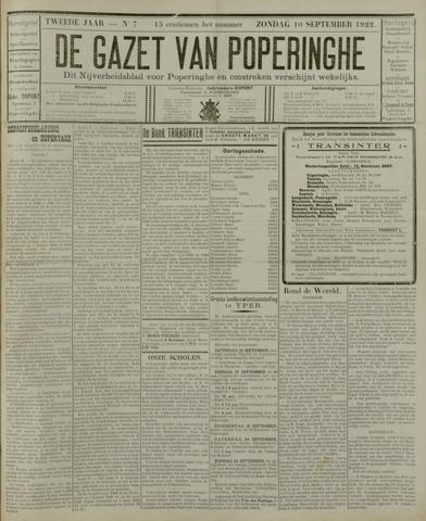 De Gazet van Poperinghe  (1921-1940) 1922-09-10