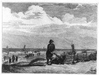 Twee vissers, blootvoets, op het duin; op het strand l. vissersvolk.