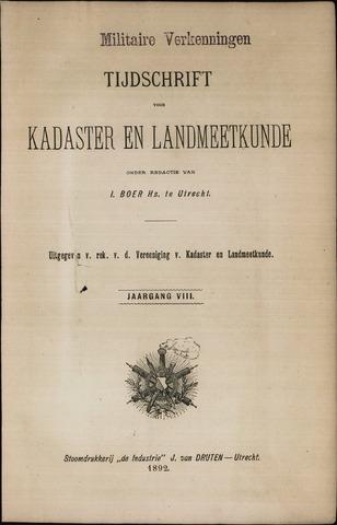 Tijdschrift voor Kadaster en Landmeetkunde (KenL) 1892