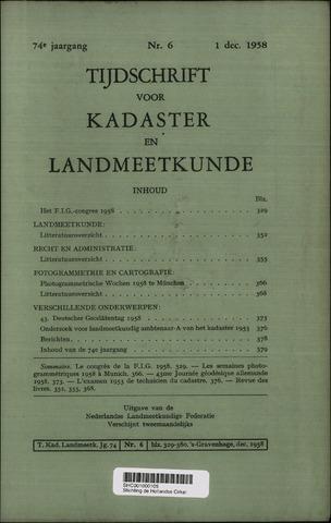 Tijdschrift voor Kadaster en Landmeetkunde (KenL) 1958-12-01