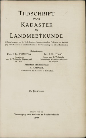 Tijdschrift voor Kadaster en Landmeetkunde (KenL) 1940-01-01