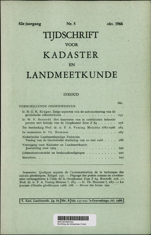 Tijdschrift voor Kadaster en Landmeetkunde (KenL) 1966-10-01
