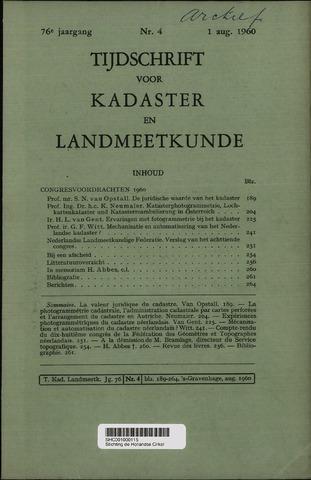 Tijdschrift voor Kadaster en Landmeetkunde (KenL) 1960-08-01