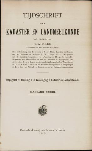 Tijdschrift voor Kadaster en Landmeetkunde (KenL) 1923