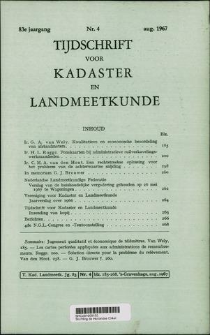 Tijdschrift voor Kadaster en Landmeetkunde (KenL) 1967-08-01