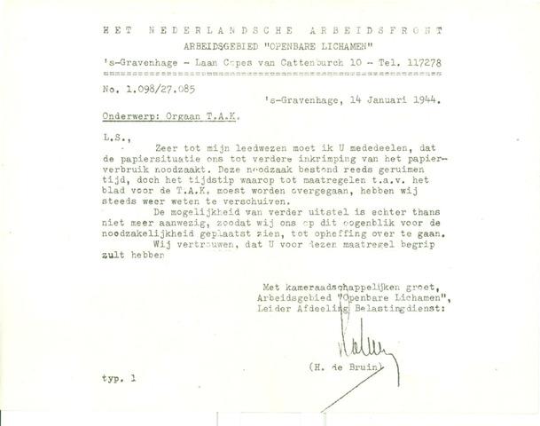 Orgaan der Vereeniging TAK 1944-01-01