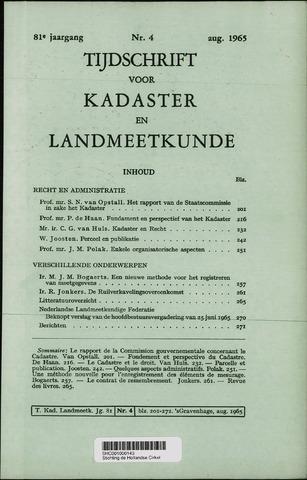 Tijdschrift voor Kadaster en Landmeetkunde (KenL) 1965-08-01