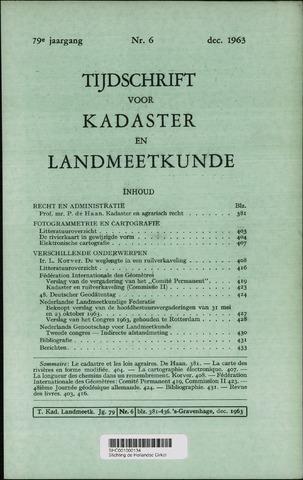 Tijdschrift voor Kadaster en Landmeetkunde (KenL) 1963-12-01