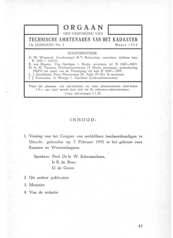 Orgaan der Vereeniging TAK 1955-03-01