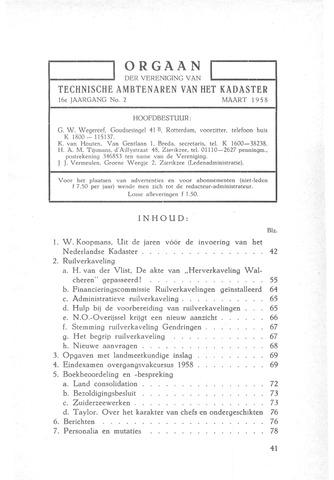 Orgaan der Vereeniging TAK 1958-03-01