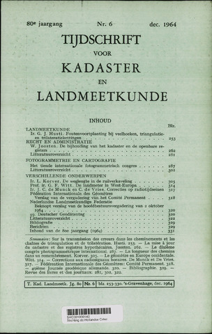 Tijdschrift voor Kadaster en Landmeetkunde (KenL) 1964-12-01