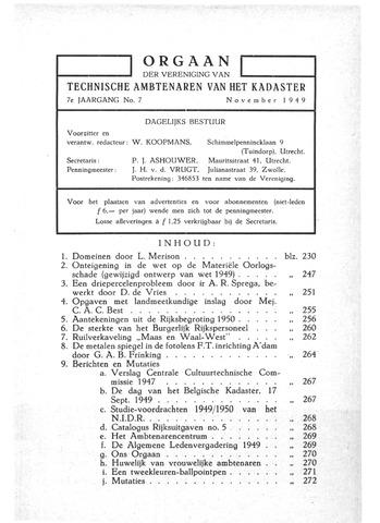Orgaan der Vereeniging TAK 1949-11-01