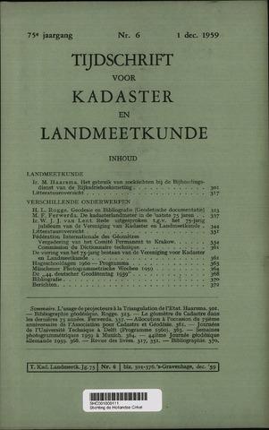 Tijdschrift voor Kadaster en Landmeetkunde (KenL) 1959-12-01