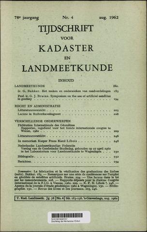 Tijdschrift voor Kadaster en Landmeetkunde (KenL) 1962-08-01