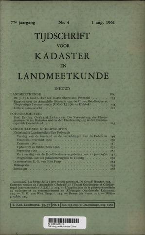 Tijdschrift voor Kadaster en Landmeetkunde (KenL) 1961-08-01