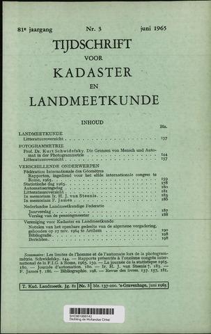 Tijdschrift voor Kadaster en Landmeetkunde (KenL) 1965-06-01