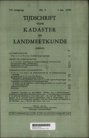 Tijdschrift voor Kadaster en Landmeetkunde (KenL) 1958-10-01