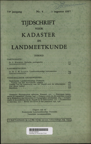 Tijdschrift voor Kadaster en Landmeetkunde (KenL) 1957-08-01
