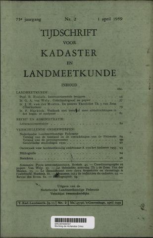 Tijdschrift voor Kadaster en Landmeetkunde (KenL) 1959-04-01