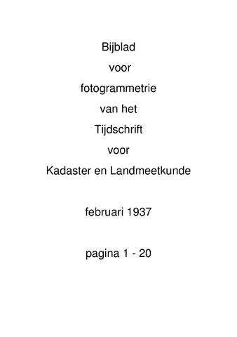 Tijdschrift voor Kadaster en Landmeetkunde (KenL) 1937-02-01