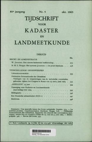 Tijdschrift voor Kadaster en Landmeetkunde (KenL) 1965-10-01