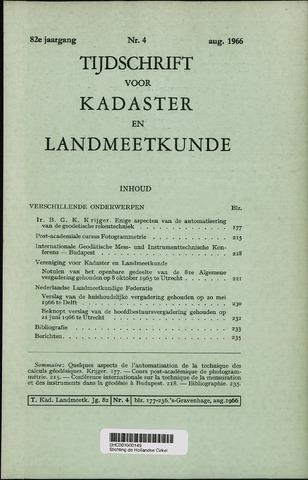 Tijdschrift voor Kadaster en Landmeetkunde (KenL) 1966-08-01