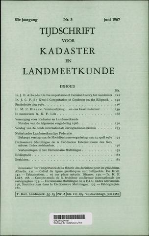 Tijdschrift voor Kadaster en Landmeetkunde (KenL) 1967-06-01