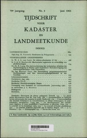 Tijdschrift voor Kadaster en Landmeetkunde (KenL) 1963-06-01