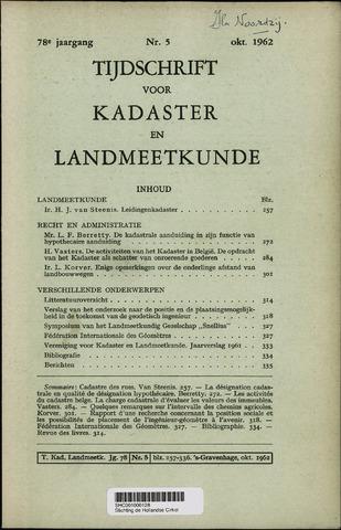 Tijdschrift voor Kadaster en Landmeetkunde (KenL) 1962-10-01