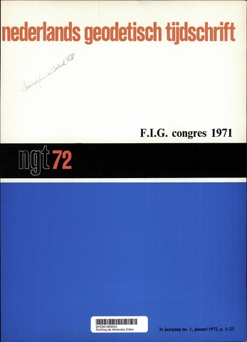 Nederlands Geodetisch Tijdschrift (NGT) 1972