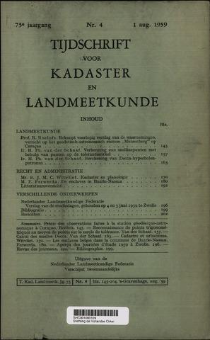 Tijdschrift voor Kadaster en Landmeetkunde (KenL) 1959-08-01