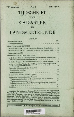 Tijdschrift voor Kadaster en Landmeetkunde (KenL) 1962-04-01