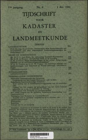 Tijdschrift voor Kadaster en Landmeetkunde (KenL) 1961-12-01