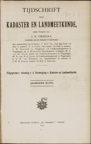 Tijdschrift voor Kadaster en Landmeetkunde (KenL) 1931