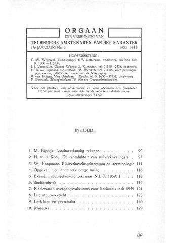 Orgaan der Vereeniging TAK 1959-05-01