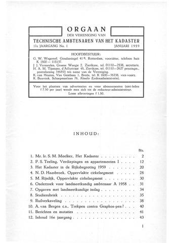 Orgaan der Vereeniging TAK 1959-01-01