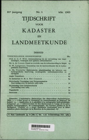 Tijdschrift voor Kadaster en Landmeetkunde (KenL) 1965