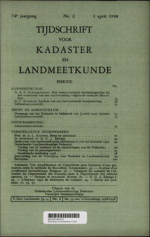 Tijdschrift voor Kadaster en Landmeetkunde (KenL) 1958-04-01