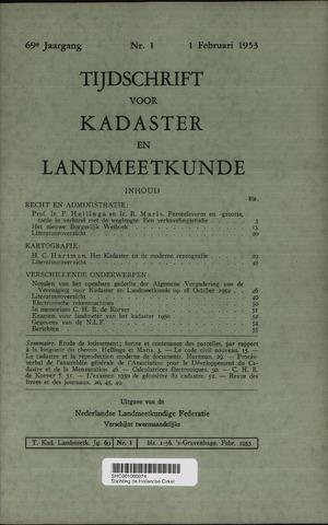 Tijdschrift voor Kadaster en Landmeetkunde (KenL) 1953