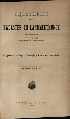Tijdschrift voor Kadaster en Landmeetkunde (KenL) 1920