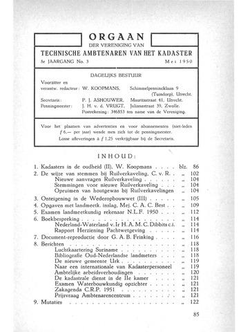 Orgaan der Vereeniging TAK 1950-05-01