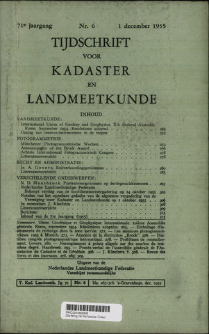 Tijdschrift voor Kadaster en Landmeetkunde (KenL) 1955-12-01