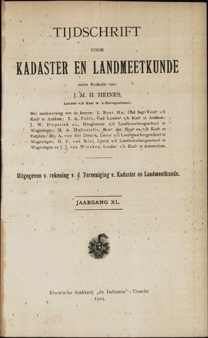 Tijdschrift voor Kadaster en Landmeetkunde (KenL) 1924