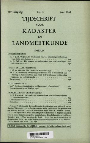 Tijdschrift voor Kadaster en Landmeetkunde (KenL) 1962-06-01