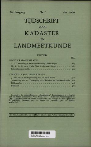 Tijdschrift voor Kadaster en Landmeetkunde (KenL) 1960-10-01